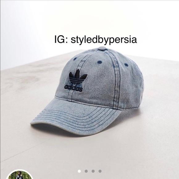 48df18ec88b Adidas trefoil washed blue denim relaxed dad hat